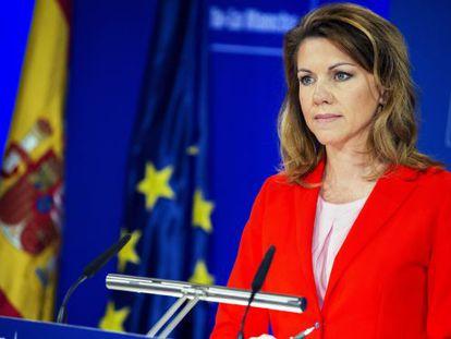 Popular Party secretary general María Dolores de Cospedal in a press conference on Thursday.
