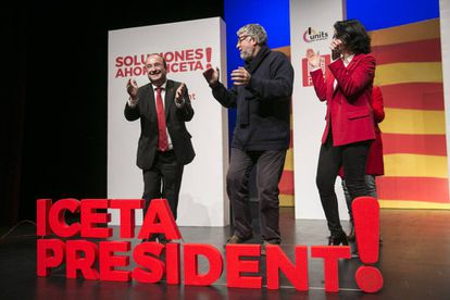 PSC candidate Miquel Iceta (left) at a party rally.