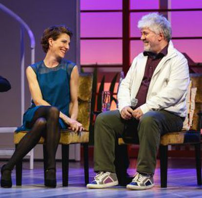 Pedro Almodóvar with Tamsin Greig, star of the London stage version of 'Women on the Verge of a Nervous Breakdown.'
