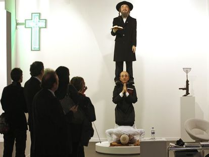 Artist Eugenio Merino's work showing a Muslim, Christian and a Jew praying provoked protests in Israel in 2010.