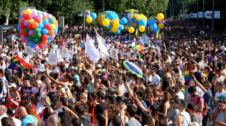 Gay Pride parade in Madrid.