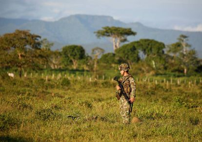 A Colombian soldier in a former FARC-occupied zone.