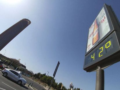 A street thermometer in Seville on Tuesday.
