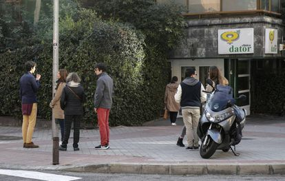 Pro-life activists outside the Dator clinic in Madrid.