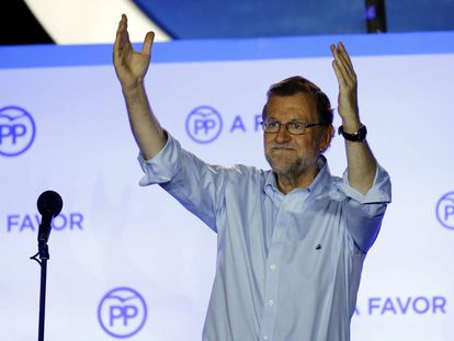 Mariano Rajoy thanks supporters on Sunday night at PP headquarters in Madrid.