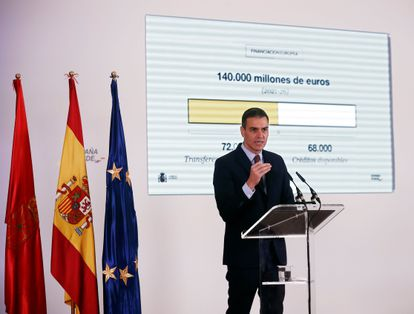 PM Pedro Sánchez speaking in Pamplona on Friday.