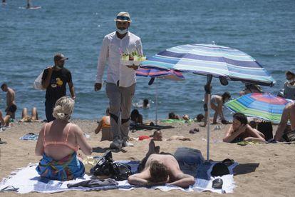 Barceloneta beach in Barcelona on Sunday, July 19.