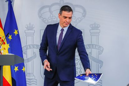Spanish PM Pedro Sánchez at a news conference on Tuesday in Madrid.