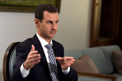 Bashar al-Assad during the interview in Damascus on Saturday.