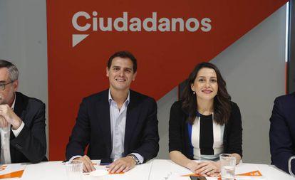 Ciudadanos leader Albert Rivera with lawmaker Inés Arrimadas on Monday.