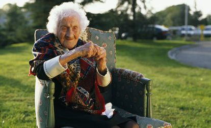 Jeanne Calment, who lived to be 122, in a photo taken in 1995.