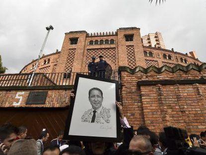 People protest the closure of La Santamaria bullring in Bogota.