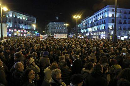 Protestors in Madrid's Puerta del Sol on Tuesday night.