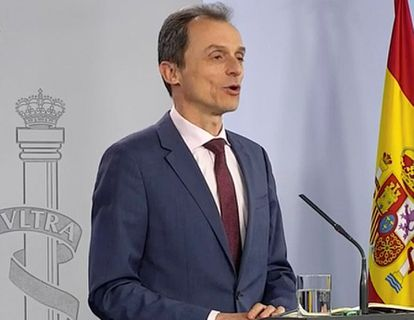 Science Minister Pedro Duque at the news conference on Wednesday.