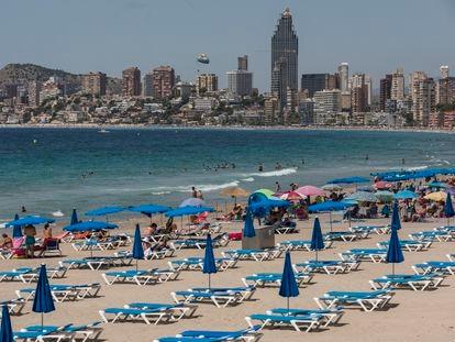 Benidorm beach in Valencia in July 2020.
