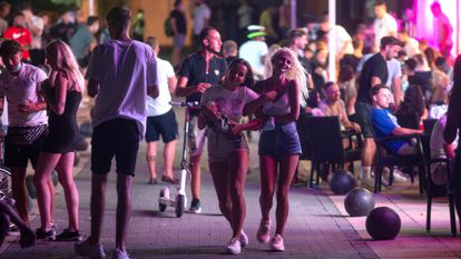 Young people out at night in Magaluf on the Balearic island of Mallorca on July 16