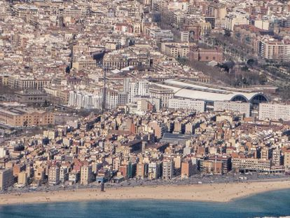 Aerial view of Barceloneta, Barcelona.