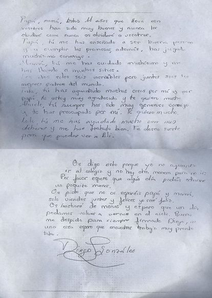 Diego's letter to his parents.
