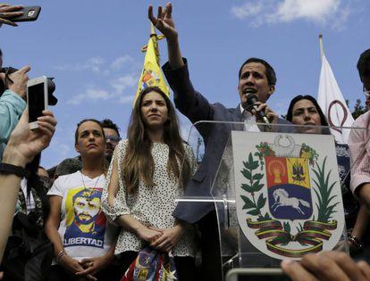 Venezuela's self-declared interim leader Juan Guaidó speaking to supporters last Saturday.