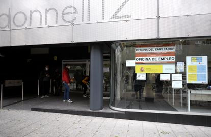 An unemployment office in Madrid in early September.