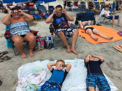 Some families traveled 15 hours from New York to the Isle of Palms, South Carolina, to watch the eclipse.