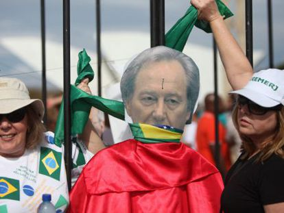 Demonstrators protest the Supreme Court's decision on Wednesday in Brazil.