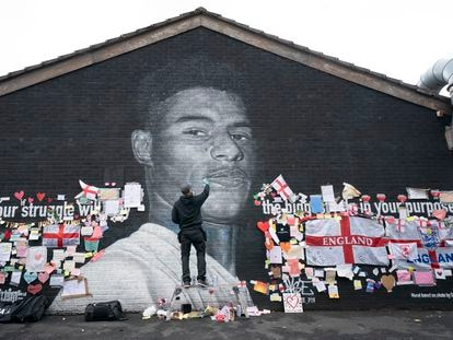 A mural dedicated to Manchester soccer player Marcus Rashford after it was vandalized following the Euro final.