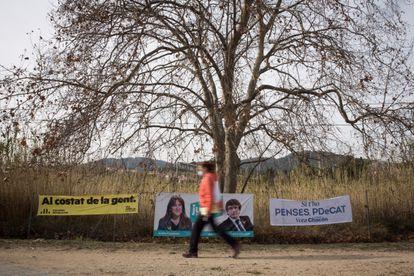 Election posters in Premià de Dalt, Barcelona, ahead of a regional election on February 14.