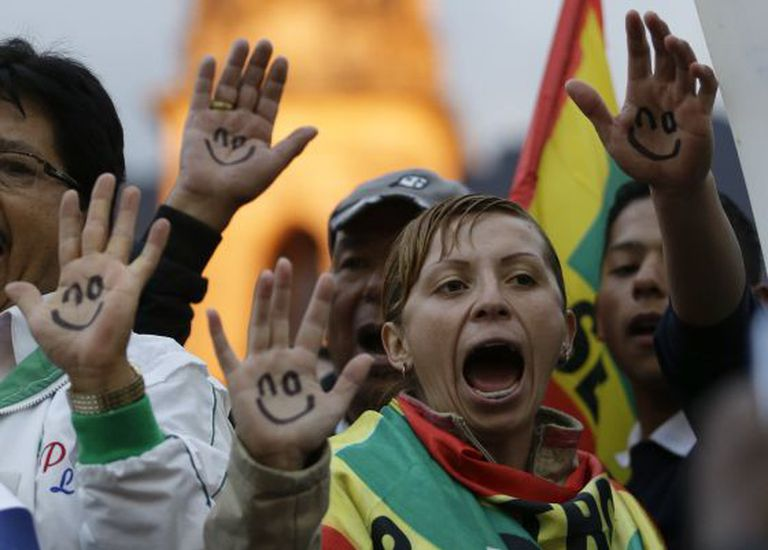 Petro supporters hold a demonstration in Bogota.