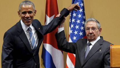 Barack Obama and Raúl Castro in March 2016.