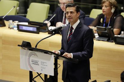Mexican President Enrique Peña Nieto speaking at the United Nations.