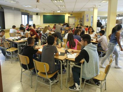 Students at a secondary school in Madrid.