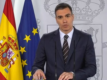 Pedro Sánchez during Saturday's press conference.