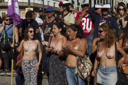 Women in Buenos Aires demand the right to topless bathing last week.