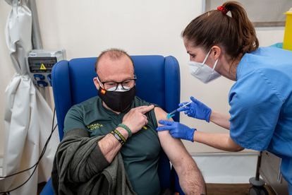 A civil guard is given a Covid-19 vaccine in Valencia in this file photo from March.