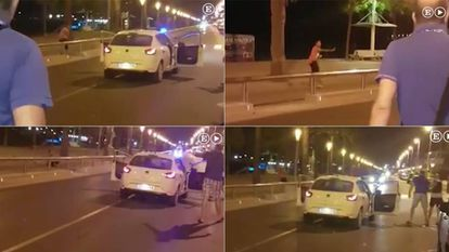 Screen grabs of a video in which a local police officer (in blue polo shirt) on vacation leave helped bring down the fifth jihadist in Cambrils.