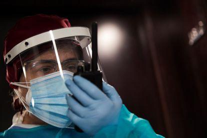 A health worker in Barcelona.