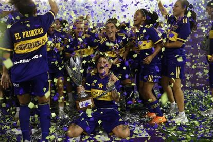Boca Juniors players celebrate winning the league title in January, 2021.