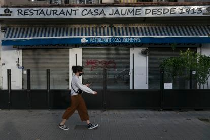 A restaurant in Barcelona, where food and drink establishments have been closed for a month in a bid to curb the spread of coronavirus.