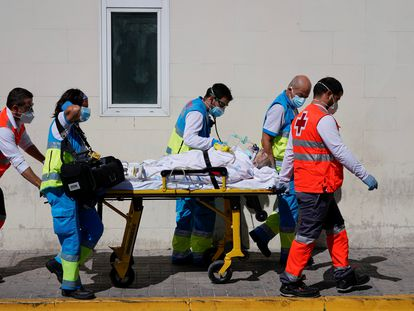A patient is transferred at the 12 de Octubre hospital in Madrid
