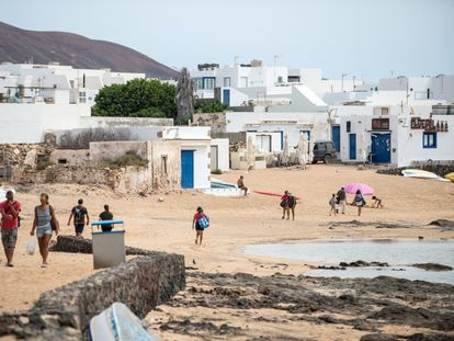 Caleta de Sebo beach on the island of La Graciosa, in he Canaries, in mid-June.