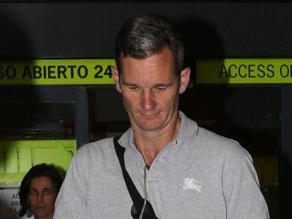Iñaki Urdangarin arrives in Madrid on Sunday night.
