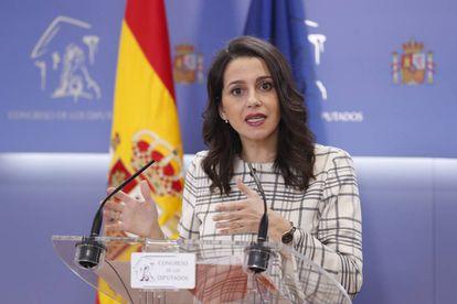 Ciudadanos party spokesperson Ines Arrimadas during a press conference on Wednesday.