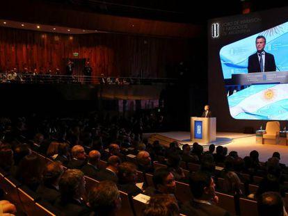 President Macri addresses delegates at last week's investment forum.