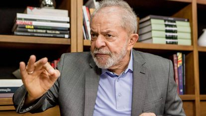 Lula da Silva, during his interview with El PAÍS, in his office in São Paulo.