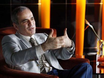 Kasparov, en una entrevista en Barcelona en 2008.