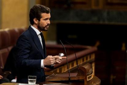 PP president Pablo Casado speaking in Congress on Wednesday.