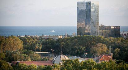 The Gas Natural headquarters rising above Ciutadella Park in Barcelona.