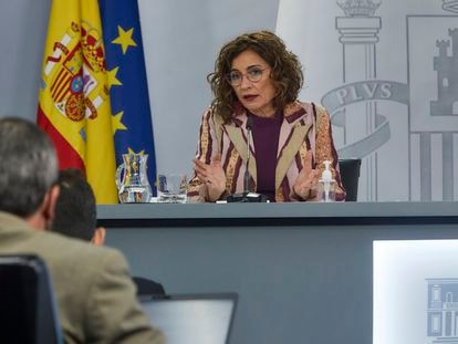 Government spokesperson María Jesús Montero after the Cabinet meeting on Tuesday.