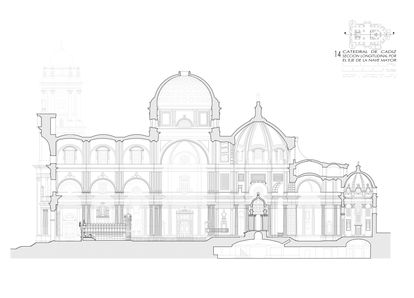 A plan of the Cádiz Cathedral drawn by the architect Juan Jiménez Mata, showing the vaults and roofs.
